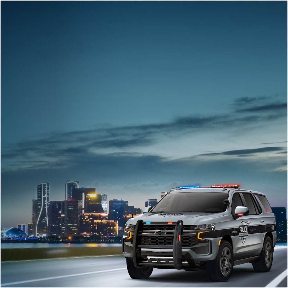 All-New 2021 Chevrolet Tahoe Police Pursuit Vehicle Available Mid-2020 – Front Side View Banner