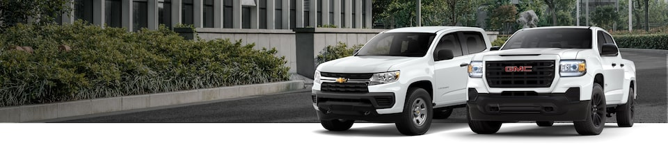 All-New 2021 White Chevrolet Colorado & GMC Canyon Pick-Up Trucks Available Late Spring 2020
